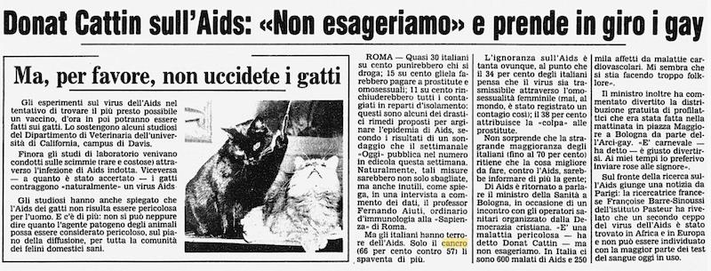 Corriere della Sera italiani e AIDS
